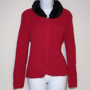 Liz Claiborne Red full Zipper Cardigan sweater SP